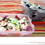 새우복숭아 사라다 & 참치김밥