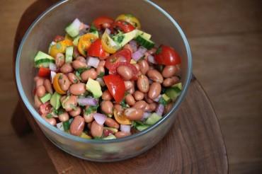 Bean Salad + Tortilla Pizza