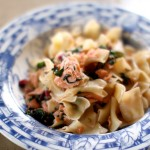 Pasta with Poached Salmon