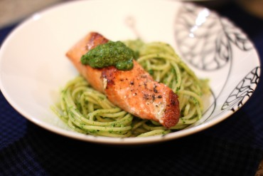 Pesto Salmon Over Spaghetti