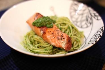 Pesto Salmon Over Spaghetti